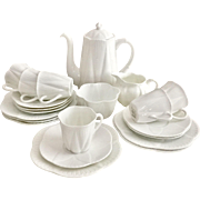 "Adorable Shelley ""Dainty White"" coffee service for six, fine bone china"