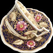 Antique Grainger teacup, Royal Flute shape cobalt blue and pink roses, 1825-1830