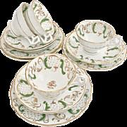 Antique Hamilton & Moore Rococo tea set for four, tulip moulding, ca 1845
