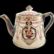 Antique Victorian Samuel Johnson teapot with Imari design, ca 1890s