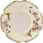 Antique Lenox small plate, pink bisque with encrusted flowers, ca 1900