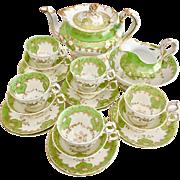 Stunning antique Minton full tea service, Rococo Q-shape patt. 4606, ca 1830