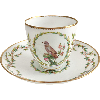 Antique tea or coffee cup, attr. Minton with hand painted birds and garlands, ca 1870