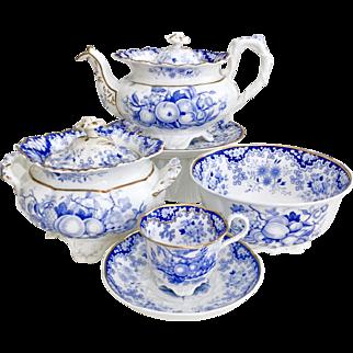 Antique Minton part tea service, Berlin embossed patt. 288 Felspar Porcelain, 1828
