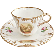 Antique Minton teacup duo, hand painted landscapes patt. 7054, early 1850s