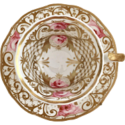 Antique New Hall teacup, Roses and gilt pattern 1146, fluted Old English shape, ca 1825