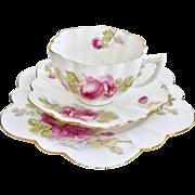 Antique Star Paragon tea set, pink roses on daisy shape, 1912-1919