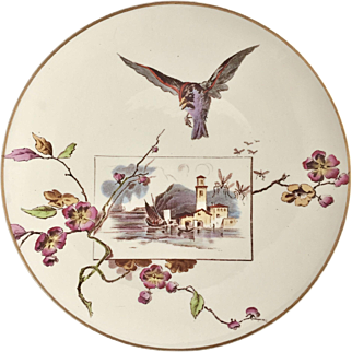 Aesthetic Movement dinner plate with bird, ivory ware, Powell, Bishop & Stonier, 1880
