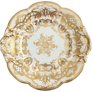 Antique Ridgway dinner plate, beautifully gilded, ca 1855