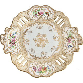 Antique Ridgway pierced serving plate, beige/gilt with beautiful floral detail, ca 1850