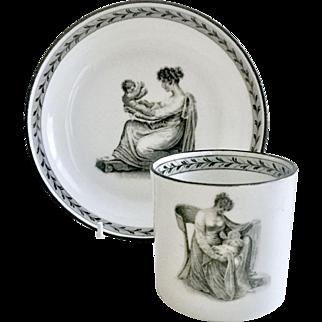 Antique Regency Ridgway coffeecup, bat print Mother and Child, 1812