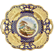 Antique Ridgway dinner or serving plate, hand painted country scene, 1825