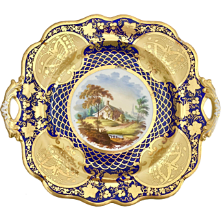 Antique Ridgway serving plate / teapot stand, hand painted country scene, 1825