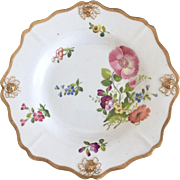 Antique Ridgway dinner plate, grape moulded with hand painted flowers, ca 1815