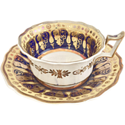 Antique Ridgway breakfast teacup, heavy gilding in several shades, ca 1820-1825