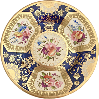 Antique Ridgway dinner plate, Rococo style patt. 699 extraordinary hand painted flowers, ca 1825