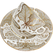 Antique Ridgway coffee cup and saucer, acanthus leaf ca 1850