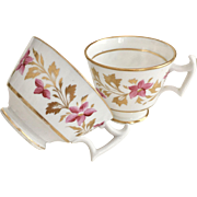 Antique Ridgway tea and coffee cup set, patt 2/485 London shape, ca 1815