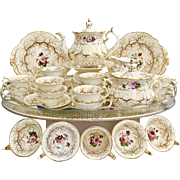 Rockingham full tea service, Rococo patt. 1373 seaweed and hand painted flowers, ca 1832
