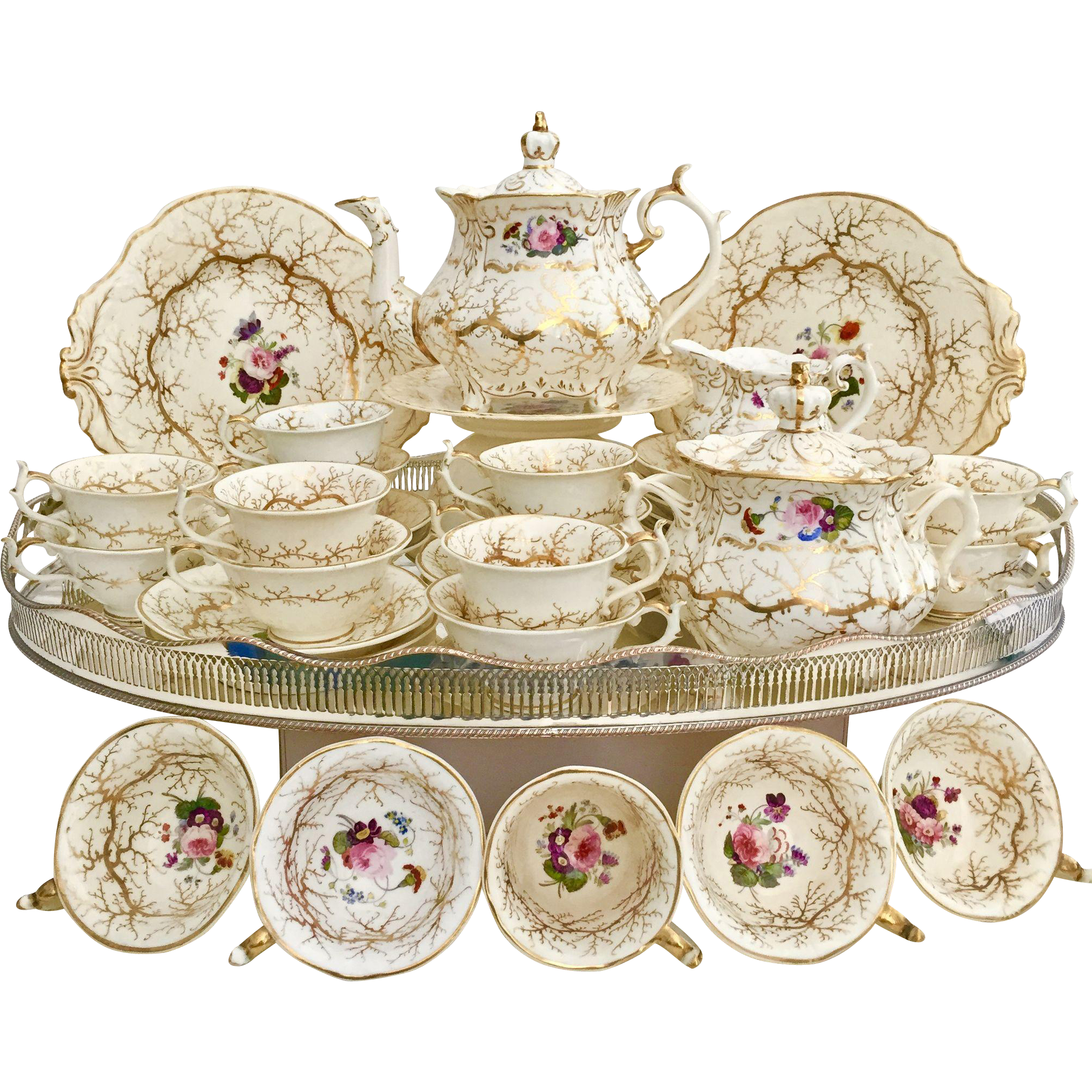 Rockingham Full Tea Service, Rococo Patt. 1373 Seaweed And