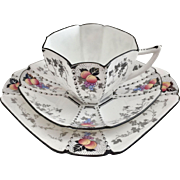 Shelley Art Deco teacup trio, Peaches and Grapes pattern on Queen Anne shape, 1926