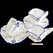 Shelley demitasse Coffee-for-Two set, Blue Iris patt. 11561 on Queen Anne shape, 1927