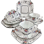 Shelley full tea service for four, Art Deco, Peaches and Grapes pattern on Queen Anne shape, 1926