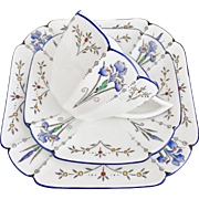 Shelley Art Deco teacup trio, Blue Iris pattern on Queen Anne shape, 1927