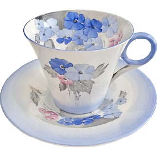 Art Deco Shelley demitasse cup, Phlox in blue, 1933