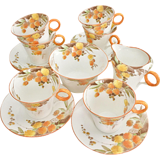 """Shelley Art Deco demitasse coffee set for 6, mint condition, """"Acacia"""" 1940"""