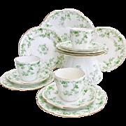Shelley part tea set, green Rose Sprays patt. 10046 on Lily shape, 1906
