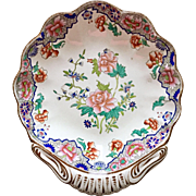 "Antique Spode shell dish with peony pattern ""Ship Border"", 1820s"