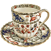 Antique Copeland Spode fluted demitasse cup and saucer, 1889