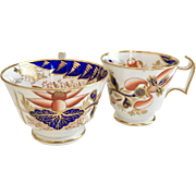 Antique Spode tea and coffee cups, London shape with Imari pattern 2214, 1815