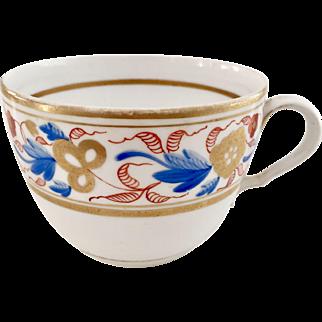 Orphaned Spode teacup, bute shape patt 1132 red & blue flowers, 1807