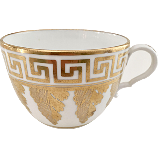 Orphaned Spode teacup, bute shape with Greek gilt pattern, ca 1810