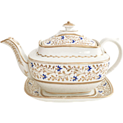 Rare Swansea teapot & stand, from collection Sir Leslie Joseph, ca 1815