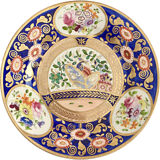 Rare Swansea plate, Japan pattern with peacock in garden, ca 1815-1820