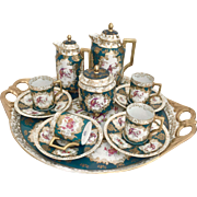 Antique Victoria Carlsbad Bohemian cabaret coffee set with birds, 1890s
