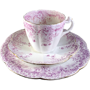Antique Wileman teacup trio, Fern print in lilac on Lily shape, 1896