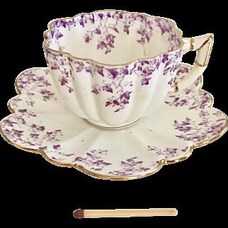 Antique Wileman demitasse coffeecup, lilac Ivy print on Daisy shape, 1893