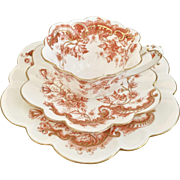 Rare antique Charles Wileman teacup trio, Buttercup pattern on Empire shape, 1893