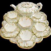 Stunning antique Charles Wileman cabaret tea set for four, Ivy print on Empire shape, 1893