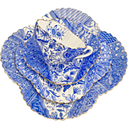 "Antique Charles Wileman teacup quartet, blue ""Dolly Varden"" patt 3744 on Alexandra shape, 1887"
