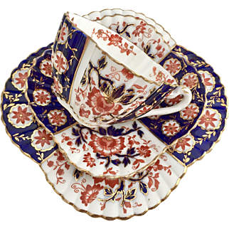 "Antique Charles Wileman teacup trio ""Japan Blue and Red"" on Alexandra shape, 1887"