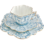 Antique Charles Wileman teacup trio, turquoise Snowdrops on Daisy shape patt. 9180, 1899