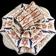 """Charles Wileman antique teacup quartet, """"Japan"""" patt 3476 on Square Antique shape, 1882"""