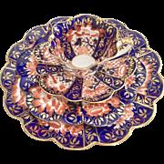 Antique Charles Wileman teacup quartet, Japan Blue patt. 6888 on Empire shape, 1895