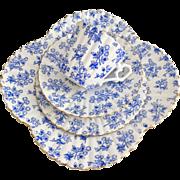 Rare Charles Wileman teacup quartet, blue Thistle patt 4010 on Albert shape, 1889