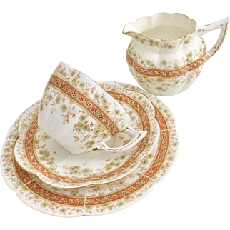 Charles Wileman Tea for One set, patt. 7246 Carnations and Floral band on New Fairy shape, 1900